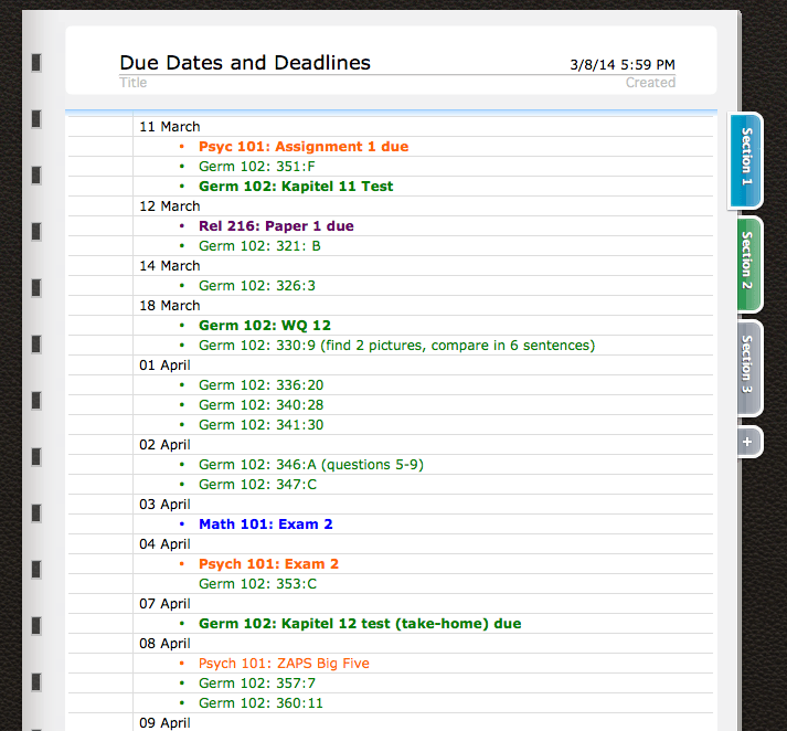 Deadlines - The Ultimate Guide to College Organization