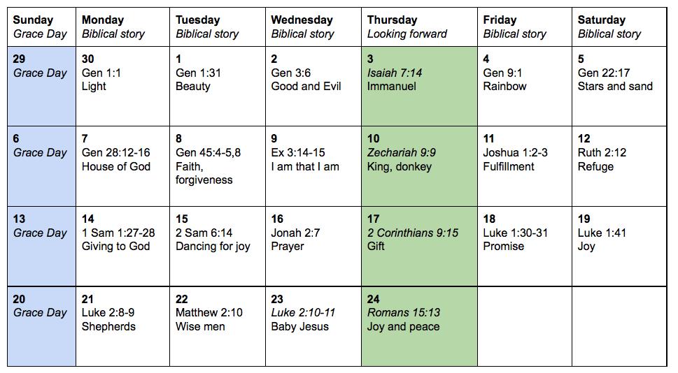 Advent Illustrated Schedule - Sara Laughed
