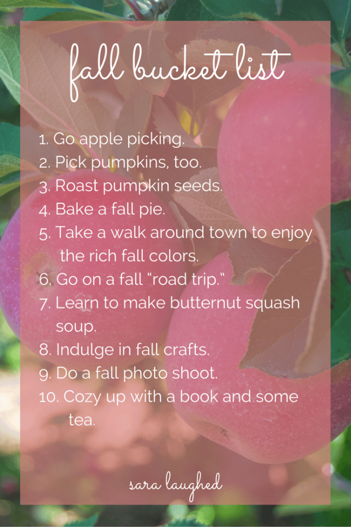 Definitely hanging on to this fall bucket list! Fun and cute things to do this fall. Fall bucket list - Sara Laughed
