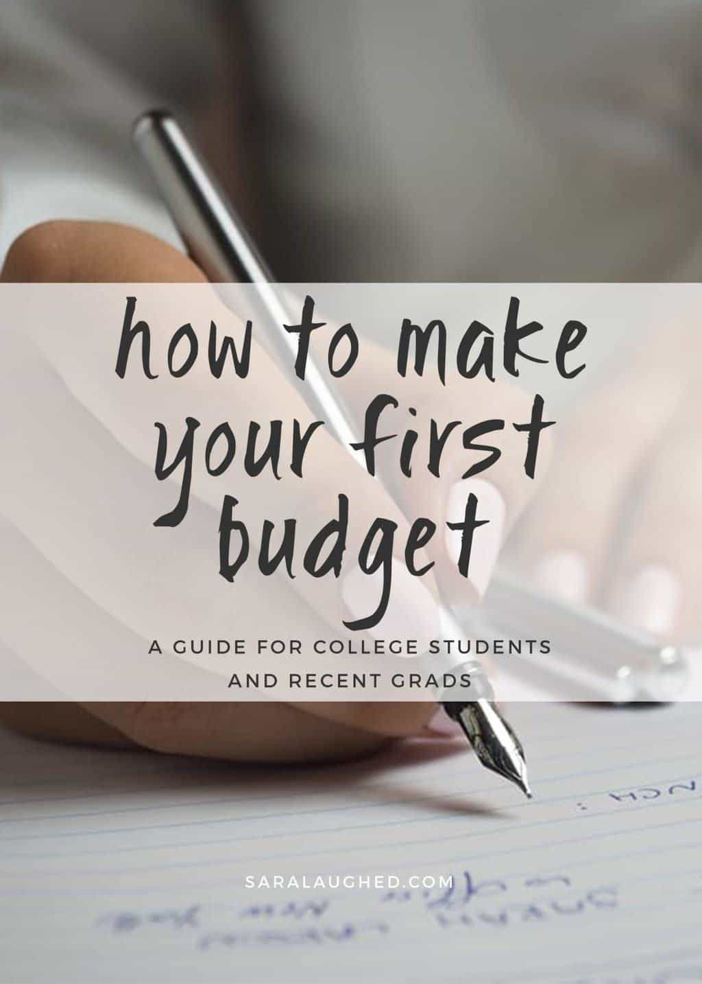 "The cover photo for the post, featuring a hand taking notes in a notebook, with the overlayed text, ""How to Make Your First Budget: A Guide for College Students and Recent Grads"" - Sara Laughed"