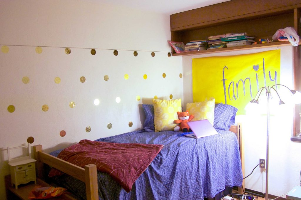 Sara Laughed's senior dorm room!