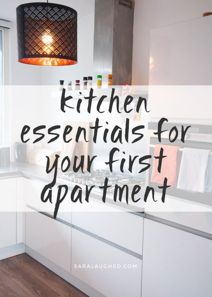 Checklist of absolute essentials for your first kitchen! Save this pin and click through to read!