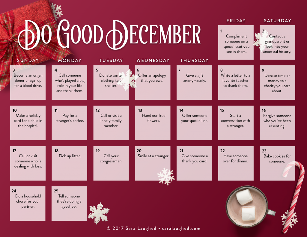 Do Good December - 25 acts of kindness for Advent