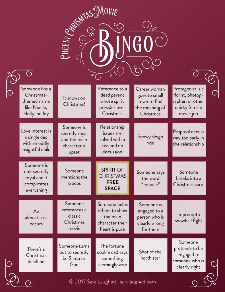 Cheesy Christmas Movie Bingo