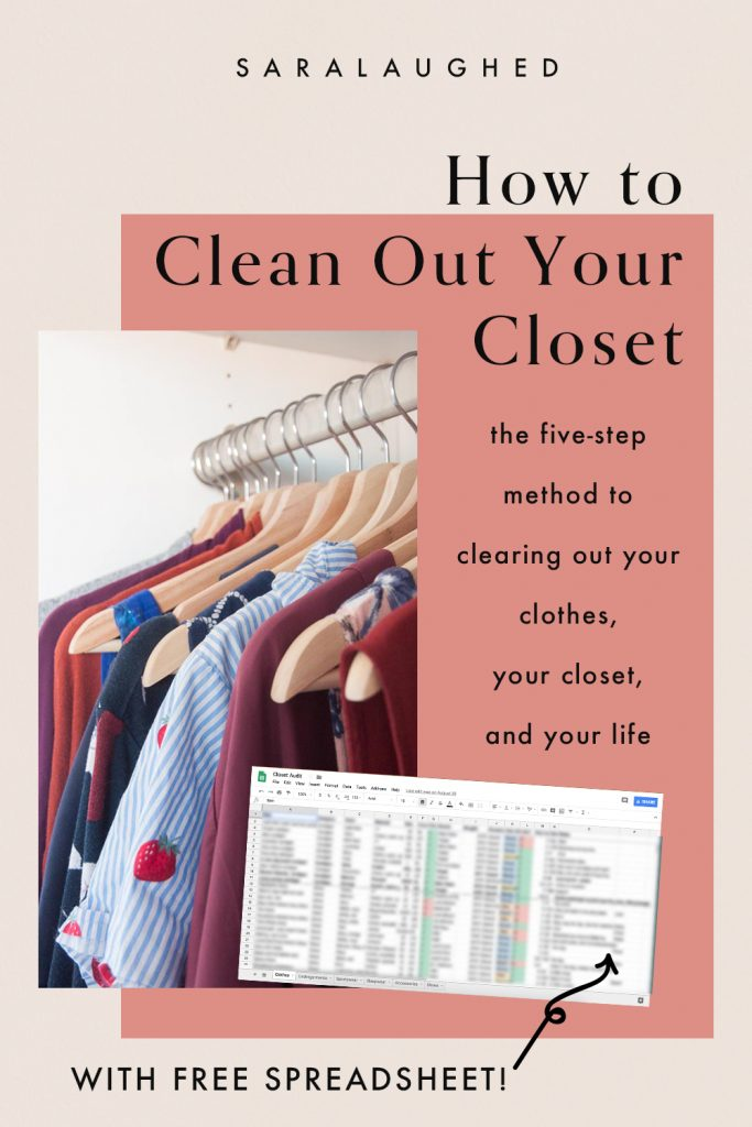 How to clean out your closet with a closet audit. Pictured: a cover image with a picture of a closet and of the free spreadsheet.