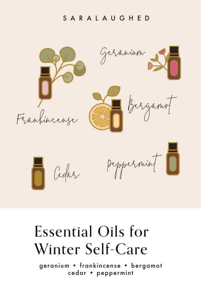 Essential oils for winter self-care. A picture showing geranium, bergamot, cedar, peppermint, and frankincense essential oils.