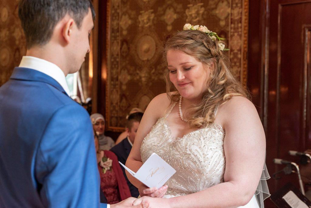 Sara reading her vows